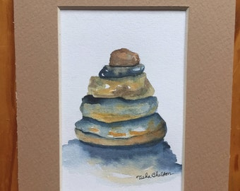 "An Original Watercolor, Stacked Rocks, ""Cairn"", matted, 5""x7"""