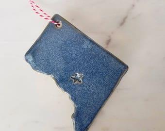 Blue Washington DC christmas ornament // District of Columbia // nation's capital souvenir // home holiday hostess gift