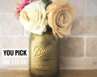 Gold Painted Mason Jar, Gold Vase For Centerpiece, Gold Vase For Wedding Centerpiece, Gold Vase Wedding, Gold Decor, Glass Centerpieces