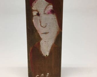 Very small painting on wood, decorative gift - woman's face