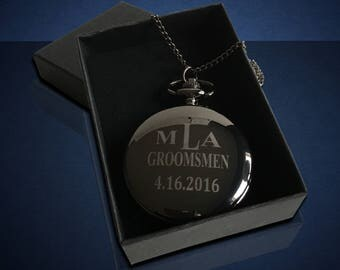 Personalized Engraved Pocket Watch - Best man & Usher gift - Wedding gift - Groomsmen monogram gift - Pesonalize Groom gift - Groomsman gift