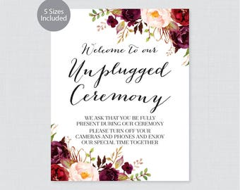 Printable Unplugged Ceremony Sign - Marsala Unplugged Wedding Sign or Poster, Please Turn Off Your Phones and Cameras, Pink Wine Flower 0006