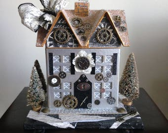 Steampunk Victorian Paper Mache House, Glitter House, Light Up Putz House with Gears & Trees, Holiday Christmas Handmade Steampunk Decor