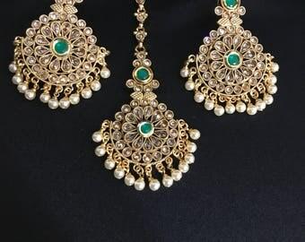 Earrings and Tikka Set - Indian Jewelry - Polki Jewelry - Kundan Jewelry - Tikka Earrings - Bollywood Jewelry - Temple Jewelry - Pakistani -