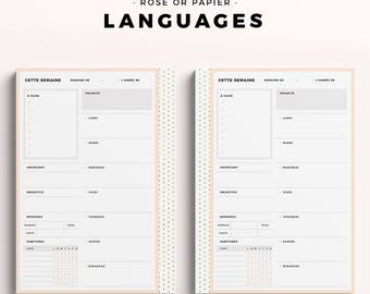 Language Options for Printable Planner Inserts