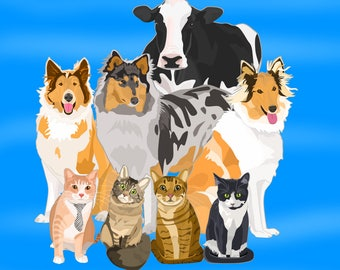 Pet portrait (One Pet), custom pet portrait, custom cartoon portrait, digital portrait, pet memorial, pet loss gift