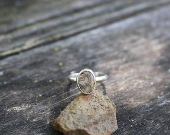 LAGUNA LACE AGATE Ring, Handmade, Sterling Silver, Size 5.5, Ready To Ship!