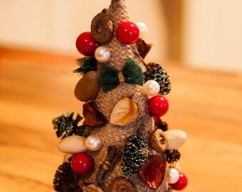 Small Rustic Table Christmas Tree Handmade Chic Festive Home Christmas Decor