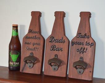 Beer Bottle Opener - groomsmen gift wedding gift custom bottle opener man cave bar decor father's day gift personalized opener gift for him