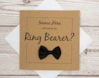 Ring Bearer Card, Will You Be My Ring Bearer?, Personalised, 4x4 Brown Card, Wedding Party Invite, Ring Bearer Proposal, Wedding Invitation