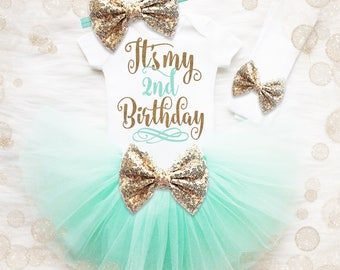 2nd Birthday Outfit Girl | Mint And Gold 2nd Birthday Tutu Set | 2nd Birthday Shirt | 2nd Birthday Shirt | It's My Second Birthday