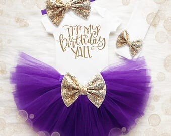 3rd Birthday Shirt | Purple And Gold Birthday Tutu Set | 4th Birthday Outfit Girl | 5th Birthday Outfit | It's My Birthday Y'all