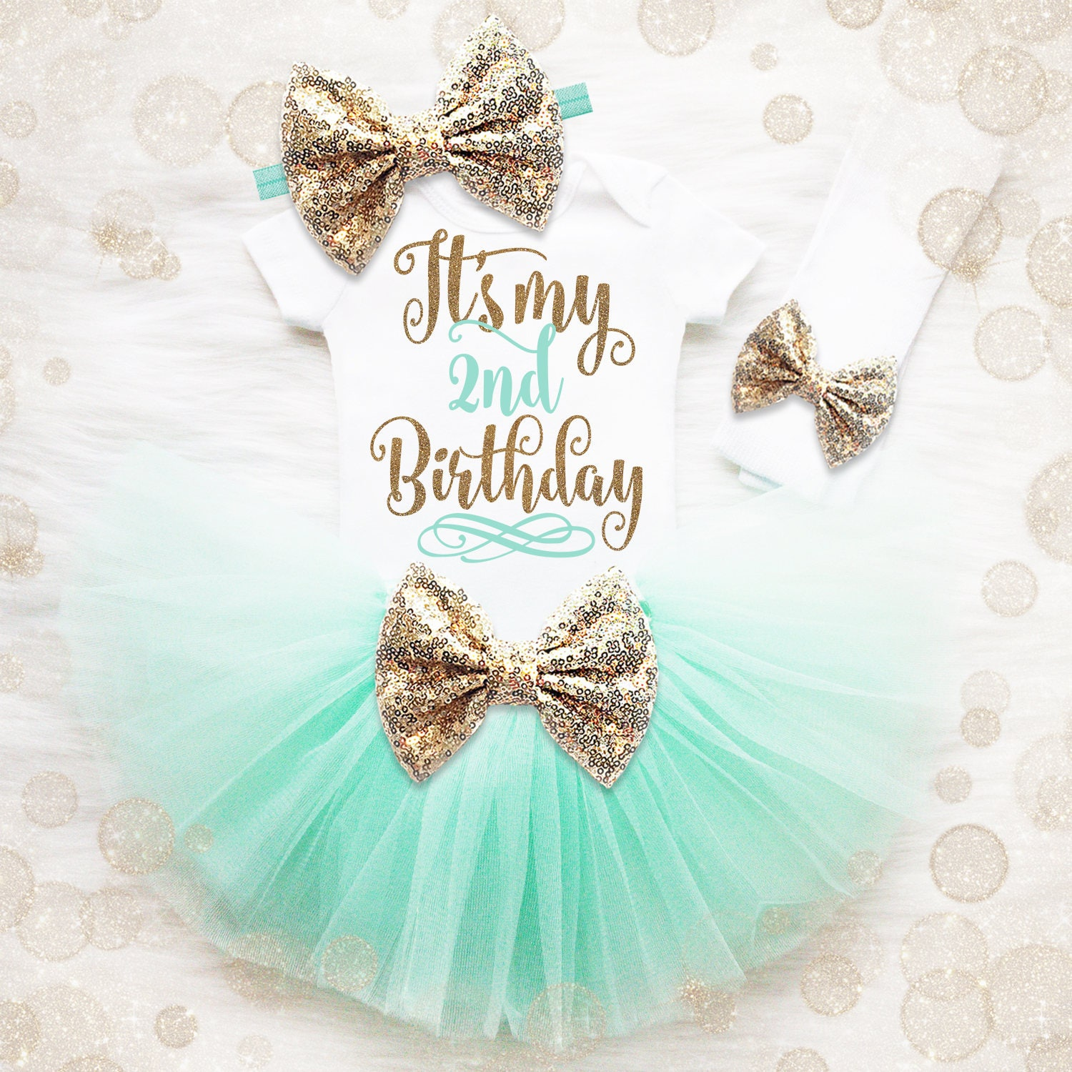 2nd Birthday Outfit Girl Mint And Gold 2nd Birthday Tutu Set