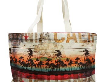 California tote bag, canvas tote bag, travel bag, beach bag, tote bag, canvas bag, shoulder bag, shopper, shopper bag