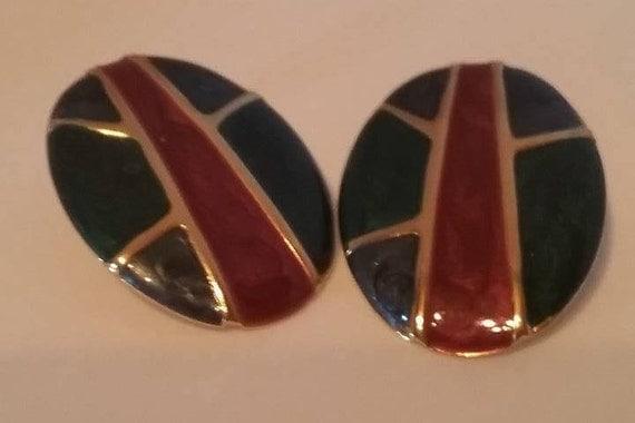 Vintage Art Deco Pierced Earrings, Vintage Enamel Geometric Earrings, 80s Retro Enamel Pierced Earrings, Green and Burgundy Vintage Earrings