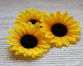 Realistic fabric sunflowers. Set of 3 sunflowers. Bright flowers for floristic decor, for wreathes, garlands, for making home decor
