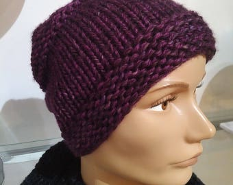 Hat purple Malabrigo and scarf