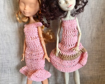 "Ever after High - 2 dresses in pink crochet Monster ""tenderness"""