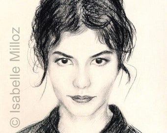 """Original portrait of Audrey Tautou 30 x 40 cm 12 x 16 """"portrait of actress"""