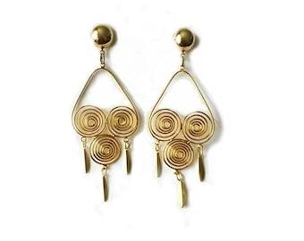 Vintage 1970's Gold Spirals Dangle Drop Chandelier Statement Earrings