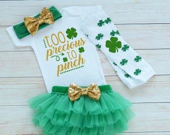 Baby Girl Outfit, Baby Girl St Patricks Day Outfit, St Pattys Girl, My 1st St Patricks Day, St Patricks Day Outfit, Little Miss Lucky Charm