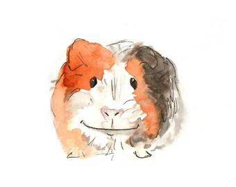 Watercolour Guinea pig illustration - British wildlife, watercolour, nursery, UK artist DIGITAL DOWNLOAD
