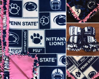 LARGE Penn State University Nittany Lions Handmade College Fleece Tie Blanket | 55x65 | PSU Home Decor | Penn State Bedding | PSU Blanket