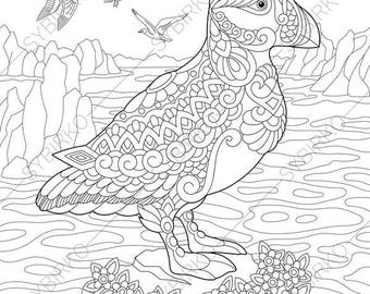 Adult Coloring Pages Puffin Zentangle Doodle Book For Adults Digital Illustration