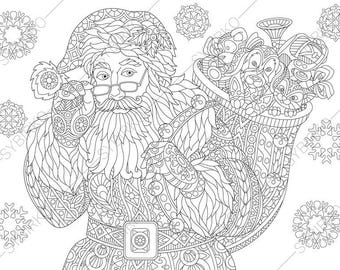 Adult Coloring Pages Santa Claus Zentangle Doodle Book For Adults Digital
