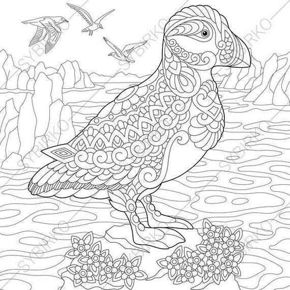Adult Coloring Pages Puffin Zentangle Doodle Book For Adults Digital Illustration Instant Download Print