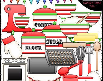 Christmas Baking Stuff Clip Art and B&W Set