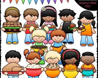 Thanksgiving Dinner Kids Clip Art and B&W Set