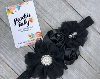 Black Baby Flower Headband for Babies Newborns - Newborn Photo Prop - Baby Hair Accessories Birthday Party Outfit