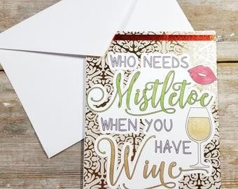 Wine Card - Wine Christmas - Christmas Card Wine - Christmas Card for Friends - Christmas Greetings - Handmade Cards Christmas