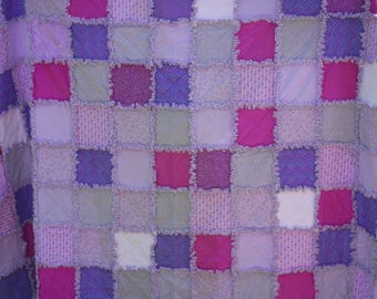 twin size rag quilt, rag quilt for girl, purple rag quilt, ready to ship, free shipping.