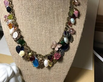 Crystal Hearts and Freshwater Pearl Charm Necklace