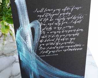 Custom wedding vow modern calligraphy on black paper with abstract painting