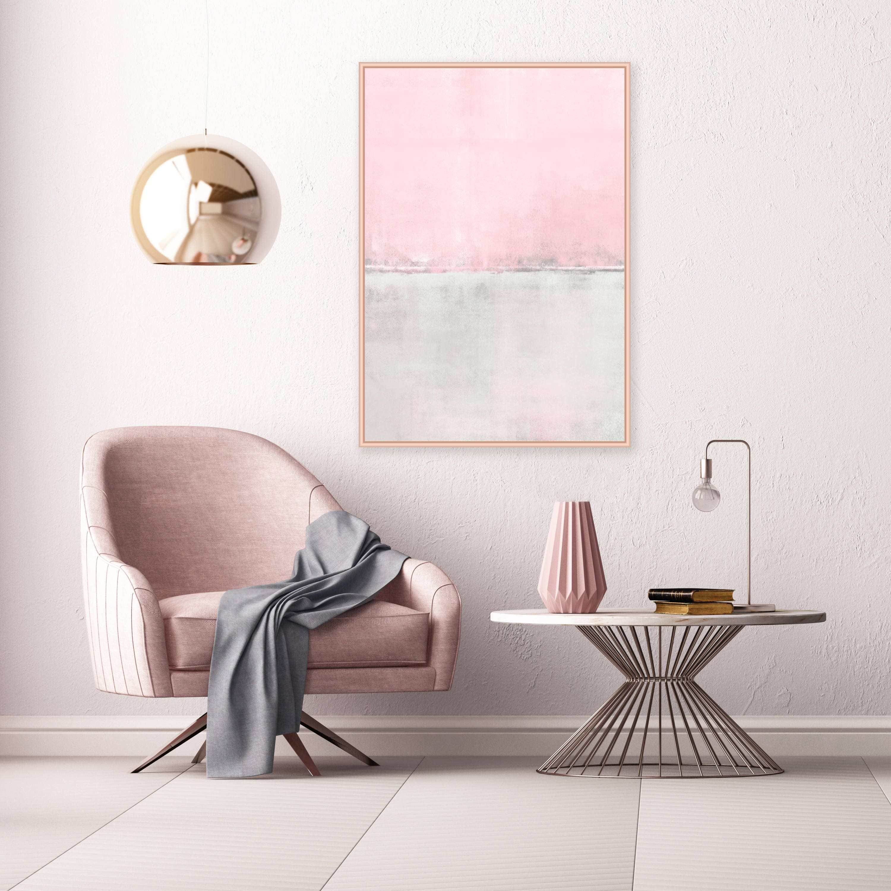 Pink and Grey minimalist Art Pale Pink and Grey Painting