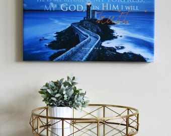 Christian Art Canvas The Lord is my Refuge, Lighthouse, Bible Verse, scripture, Faith art, Wall art Home decor