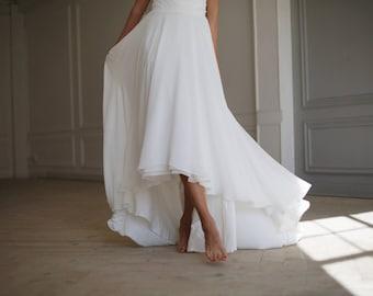 Wedding skirt etsy wedding skirt bridal skirt high low skirt chiffon skirt off white wedding junglespirit Images