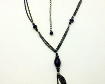 germau Sterling silver onyx lariat necklace #32
