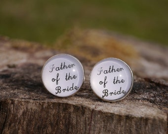 Bridal Father's Cufflinks - father of the bride - white round cufflinks - handwriting - man's wedding jewelry