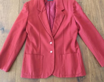 80's Pendleton Women's Blazer/ Jacket slim trim burgundy retro long blazer Size Medium