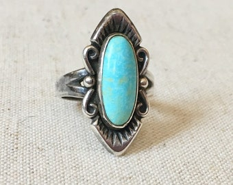 Vintage Turquoise Ring Bell Trading Style Native American Navajo Sterling Silver Size 6