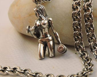 Gift for Women Fitness GYM Workout Crossfit New Pendant silver 925