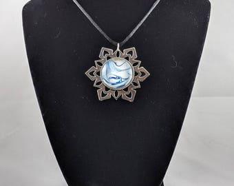 Snowflake Pendant - Blue, White, Gold