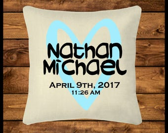 Personalized baby boy pillow burlap look pillow throw personalized boys name pillow burlap look pillow throw pillow custom pillow negle Choice Image