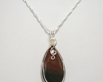 Beautiful Bloodstone Wire Wrapped Pendant - Wrapped in .935 Argentium Silver
