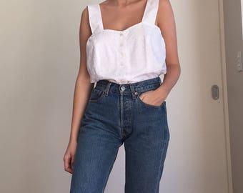 White lace cotton button up camisole, L