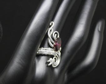 Wire Wrapped Sterling Silver Adjustable Ring with Garnet Gemstone